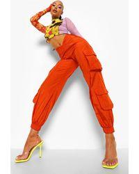 Boohoo Pantalones Utilitarios Tejidos Con Cintura Curvada - Naranja