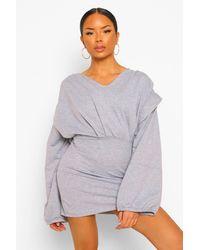 Boohoo Seam Detail Balloon Sleeve V Neck Sweater Dress - Grigio