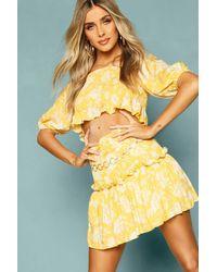 Boohoo Womens Floral Shirred Detail Ruffle Mini Skirt - Gelb