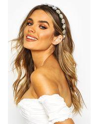 Boohoo Womens Mit Perlenband und Kugeln verziertes Premium-Haarband - Schwarz