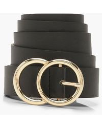 Boohoo Plus Gold O Ring Boyfriend Belt - Black