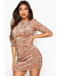Boohoo - Robe Moulante Manches Longues À Sequins - Lyst
