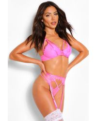 Boohoo Lace Strapping Bralette Thong And Suspender Set - Pink