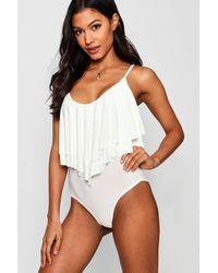 Boohoo Double Layer Frill Bodysuit - White