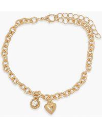 Boohoo Heart & Diamante Anklet - Metallic