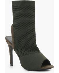 Boohoo - Knitted Peeptoe Shoe Boots - Lyst