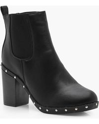 acdea1da0451 Boohoo - Claire Wide Fit Studded Block Heel Chelsea Boot - Lyst