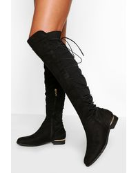 Boohoo - Bungee Lace Back Knee High Boots - Lyst