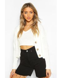 Boohoo Cardigan & Bralet Knitted Co-ord - White