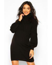 Boohoo Womens Maternity Balloon Sleeve Roll Neck Sweater - Black