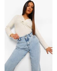 Boohoo - Petite Knot Front Knitted Top - Lyst