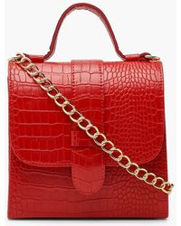 Boohoo Croc Structured Mini Tote Bag - Rojo