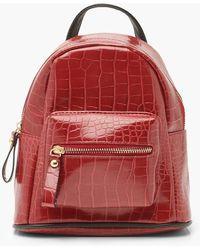 Boohoo Croc Mini Rucksack - Red