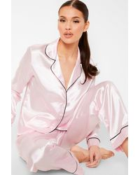 Boohoo Contrast Piping Button Down Satin Pajama Set - Pink