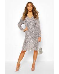 Boohoo Bridesmaid Occasion Sequin Plunge Midi Dress - Grey