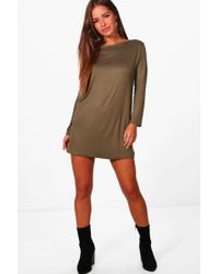 Boohoo - Petite Long Sleeve Shift Dress - Lyst