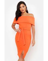 Boohoo Womens Off The Shoulder Fold Over Split Midi Bodycon Dress - Orange
