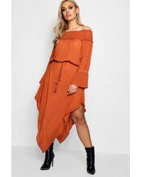 Boohoo - Plus Sheered Off Shoulder Skater Dress - Lyst
