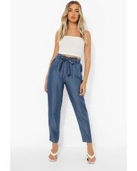 Boohoo Cropped Belted Paperbag Chambray Pants - Blue