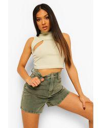 Boohoo Petite Denim Utility Shorts - Green