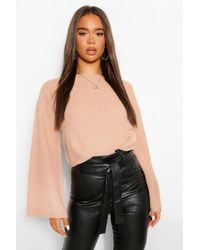 Boohoo Cropped Flare Sleeve Sweater - Pink