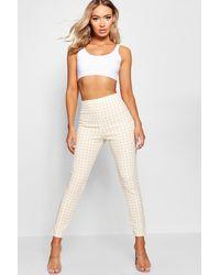 Boohoo High Waist Gingham Flannel Split Skinny Trousers - Natural