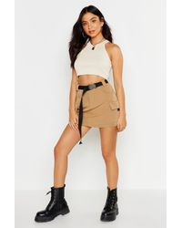 Boohoo Micro Cargo Belted Mini Skirt - Multicolour