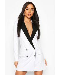 Boohoo Womens Contrast Tuxedo Blazer Dress - White