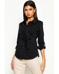 Boohoo Womens Cotton Knot Front Shirt - Black - 4