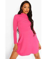 Boohoo Rib High Neck Skater Dress - Pink