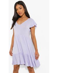 Boohoo Petite Ruffle Sleeve V Neck Smock Dress - Morado