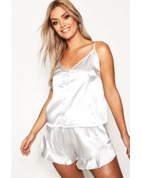 Boohoo - Plus Button Down Cami Frill Hem Pyjamas - Lyst