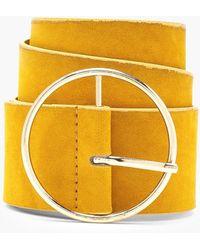 Boohoo - Suedette Circle Buckle Waist Belt - Lyst