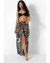 Boohoo Monochrome Zebra Print Beach Trousers - Black