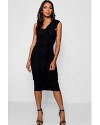 0b40f2e43c4b Lyst - Boohoo Slinky One Shoulder Wrap Midi Dress in Black