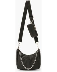 Boohoo Nylon Multi Way Cross Body Bag With Mini Bag - Black