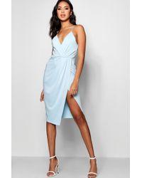 f468eef8f53 Boohoo - Strappy Wrap Detail Midi Dress - Lyst