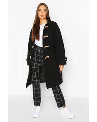 Boohoo Duffle-Coat Look Laine Avec Col - Noir