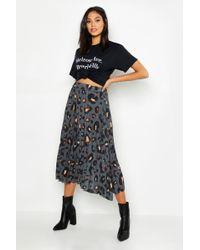 91d83035539 Boohoo - Tall Leopard Print Pleated Midi Skirt - Lyst