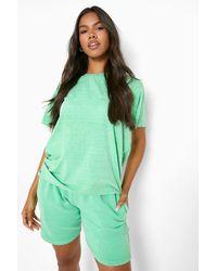 Boohoo Overdyed Sweat Shorts - Green
