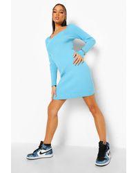 Boohoo - Premium Rib Square Neck Knitted Dress - Lyst