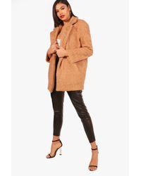 Boohoo | Thea Teddy Fur Chuck On Coat | Lyst