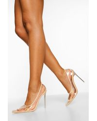 Boohoo Clear Pointed Court Shoes - Natural