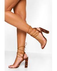Boohoo Wrap Up Strappy Block Heels - Multicolour