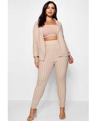 Boohoo - Plus Pastel Stripe Blazer & Tailored Trouser - Lyst