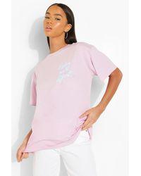 Boohoo Camiseta Ancha Con Estampado De Darling - Morado