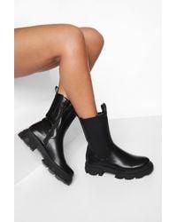 Boohoo Chunky Calf Height Chelsea Boot - Black