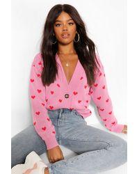 Boohoo Heart Print Cropped Cardigan - Pink