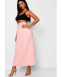 Boohoo - Tie Waist Pleated Midaxi Skirt - Lyst