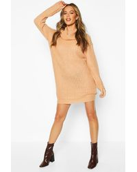 Boohoo Womens Pulloverkleid aus Strick mit Wasserfallausschnitt - Orange